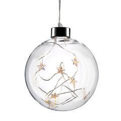 Vánoční LED koule skleněná s hvězdami WW
