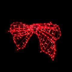 Vánoční venkovní LED dekorace Mašle - červená