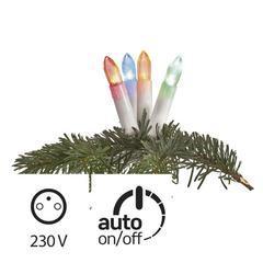 LED vánoční řetěz – barevné svíčky, 7m, IP44