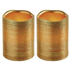 2x dekorativní vosková zlatá LED svíčka - 10cm
