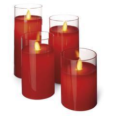 4x Dekorativní LED svíčka ve skle - červená