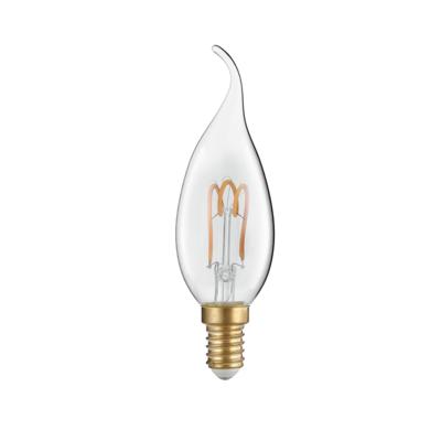 LED žárovka Filament spiral Candle tip E14 3W Čirá - 1