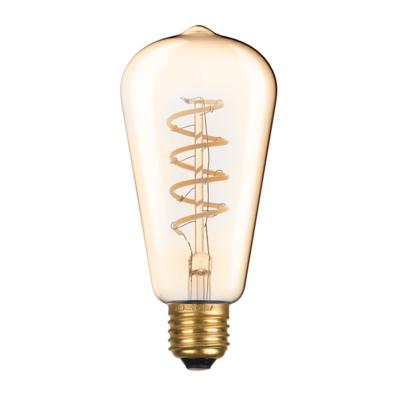 LED žárovka Filament spiral Edison E27 6W, Jantar - 1