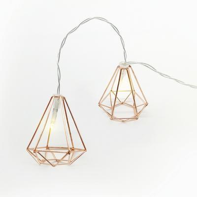 Vánoční LED řetěz Diamanty s časovačem - měď 135cm