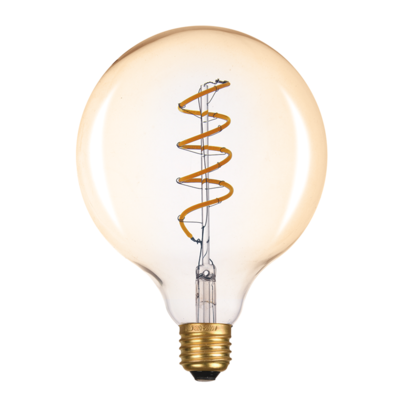 LED žárovka Filament spiral E27 O125 6W, Jantar - 1