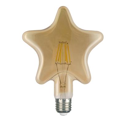 LED žárovka Filament Star E27 6W, jantar - 1