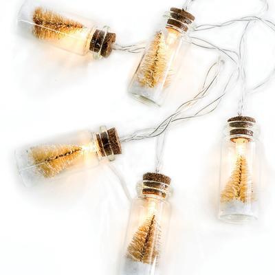 Vánoční LED řetěz Ampule - bílé stromky - 135cm
