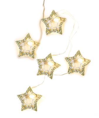 Vánoční LED řetěz kovové Hvězdy - 190cm
