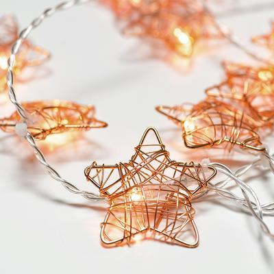Vánoční LED řetěz Hvězdy s časovačem - měď - 135cm