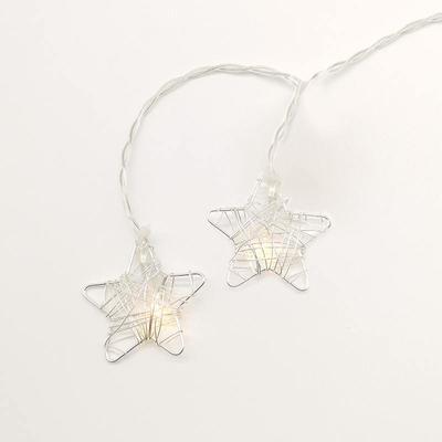 Vánoční LED řetěz Hvězdy časovač - stříbro - 135cm