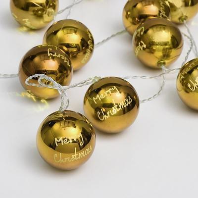 Vánoční LED řetěz Zlaté Koule s časovačem - 135cm