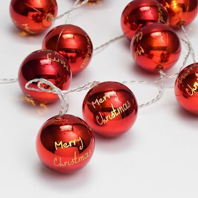 Vánoční LED řetěz Červené Koule časovač - 135cm
