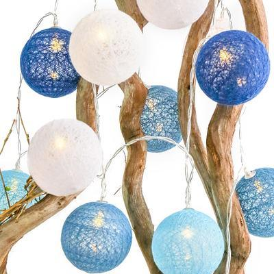 LED řetěz Pletené koule - modrá/bílá - 285cm