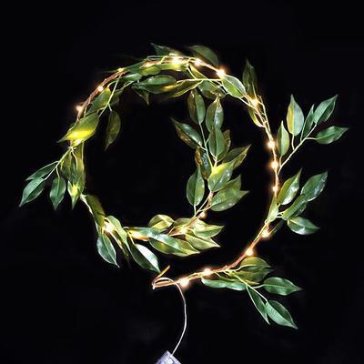 Vánoční LED řetěz Zelené lístky - 120cm