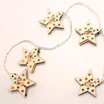 Vánoční LED řetěz Dřevěné Hvězdy - 135cm