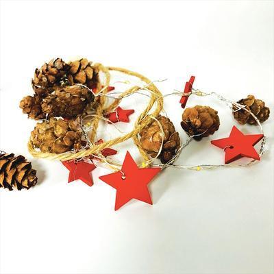 Vánoční LED řetěz Šiška - červená - 180cm