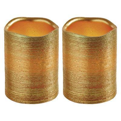 2x dekorativní vosková zlatá LED svíčka - 10cm - 1
