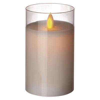 Dekorativní LED svíčka ve skle 12,5cm - bílá - 1