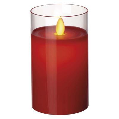 Dekorativní LED svíčka ve skle 12,5cm - červená - 1