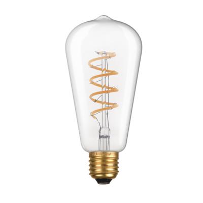 LED žárovka Filament spiral Edison E27 6W, Čirá - 2