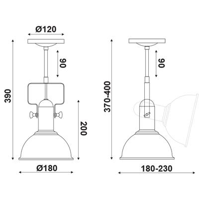 Stropní/Nástěnné svítidlo Black Bucket 1 - 2