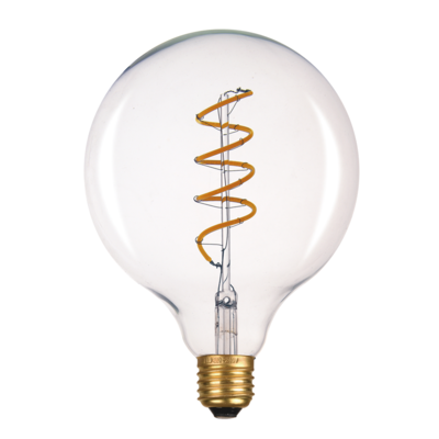 LED žárovka Filament spiral E27 O125 6W, Jantar - 2