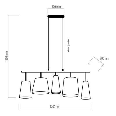 Závěsné svítidlo PEDRO, bílá/šedá/černá - 2