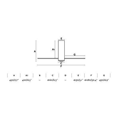 """Stropní ventilátor TUBE FAN - 50,4"""" - revezní - 2"""