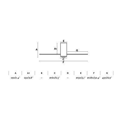 """Stropní ventilátor MINI TUBE FAN - 50,4"""" - revezní - 2"""