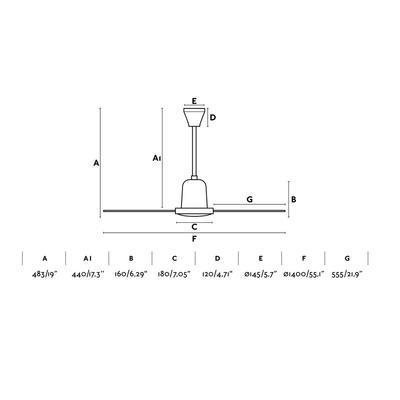 """Stropní ventilátor INDUS - 55,1"""" - 2"""