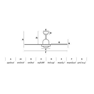 """Stropní ventilátor IBIZA - 52"""" - reverzní - 2"""