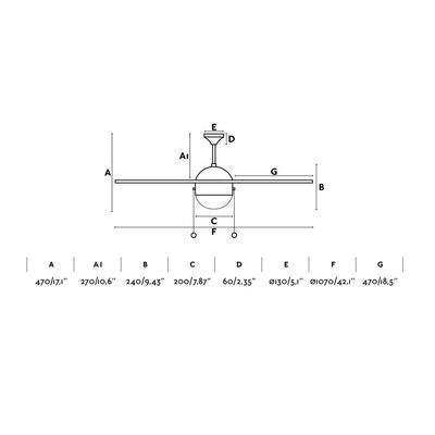 """Stropní ventilátor VENETO - 42,1"""" - reverzní - 2"""