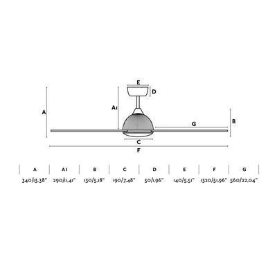 """Stropní ventilátor GRID - 52"""" - reverzní - 2"""