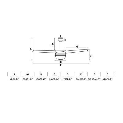 """Stropní ventilátor EASY - 41,3"""" - reverzní - 2"""