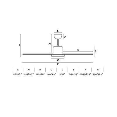 """Stropní ventilátor ANDROS - 83,9"""" - reverzní - 2"""