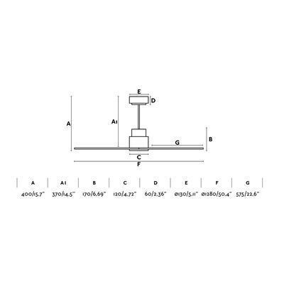 """Stropní ventilátor NASSAU - 50,4"""" - reverzní - 2"""