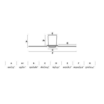 """Stropní ventilátor PEMBA - 52"""" - reverzní - 2"""