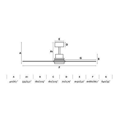 """Stropní ventilátor LANTAU-G - 66,1"""" - reverzní - 2"""