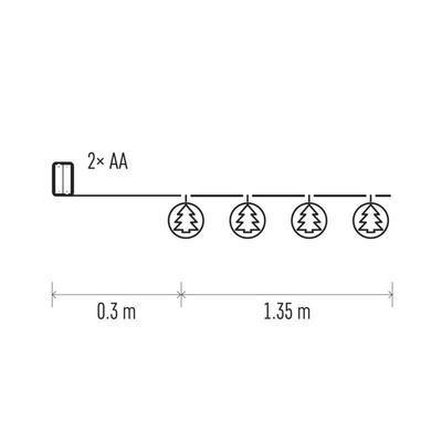 Vánoční LED girlanda Stromky s časovačem 1,35m - 2