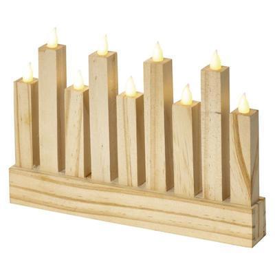 Dekorativní LED svícen 8 - dřevo - 2