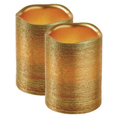 2x dekorativní vosková zlatá LED svíčka - 10cm - 2