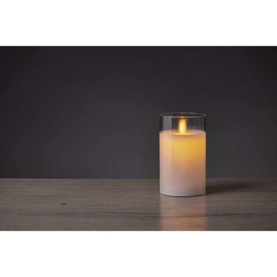 Dekorativní LED svíčka ve skle 12,5cm - bílá - 2