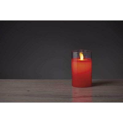 Dekorativní LED svíčka ve skle 12,5cm - červená - 2
