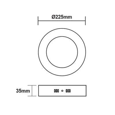 Přisazený LED panel 18W O225 mm - 3