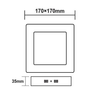 Přisazený LED panel 12W 170x170 mm - denní bílá - 3