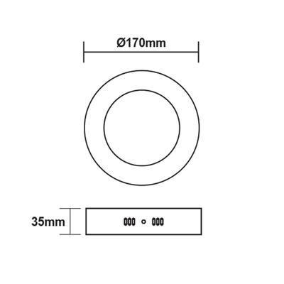 Přisazený LED panel 12W O170 mm, studená bílá - 3