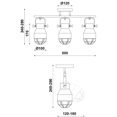 Stropní/Nástěnné svítidlo Headlight 3 - 3