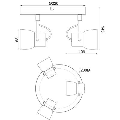 Stropní/Nástěnné svítidlo Cement Spot 3 - 3
