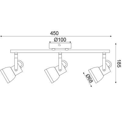 Stropní/Nástěnné svítidlo Spot 3 - 3