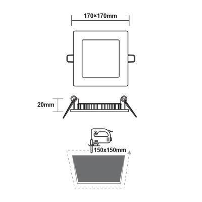 Zapuštěný LED panel 12W 170x170 mm - denní bílá - 3